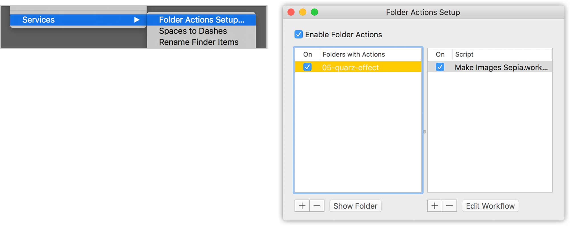 Ac computer graphics automator for Folder action